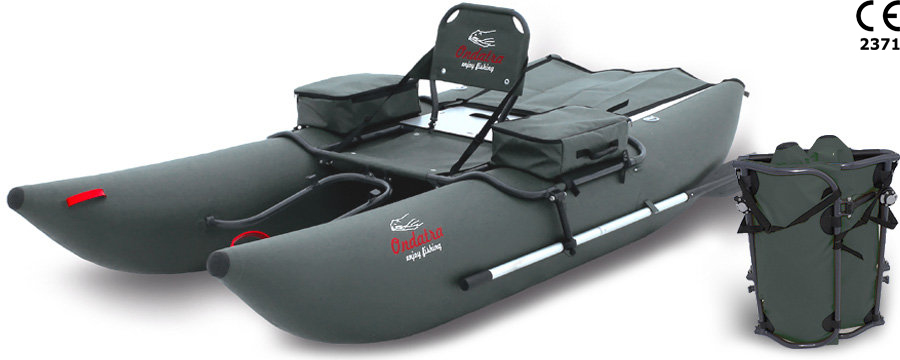 ONDATRA Inflatable PVC Fishing Pontoon Boat with Foldable Aluminum Frame & popular Accessories. Weight 27 lbs (12 kg)! Grey