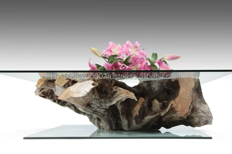 Real wood Root Coffee tables with tempered glass tops