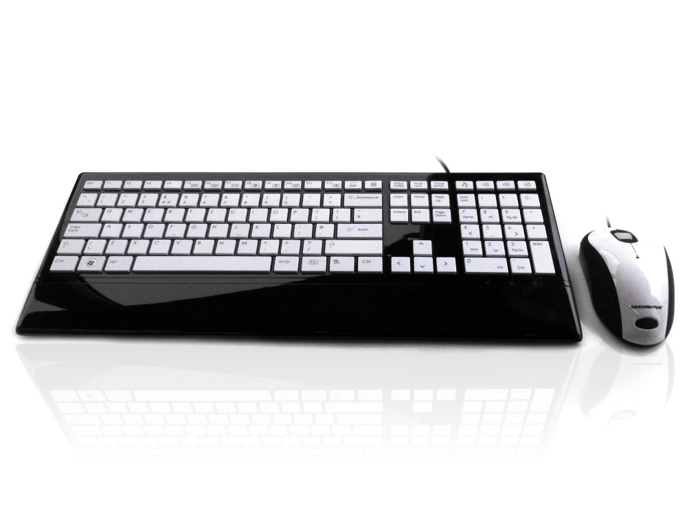 Accuratus Image Set - USB Slim Full Size Keyboard & Mouse with Piano Black Glossy Finish