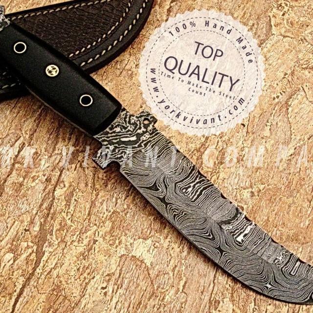York Vivant-Custom Handmade Damascus Steel Tracker Hunting Knife Yvthk-02 Full Tang + Micarta + Mosaic Pin Handle