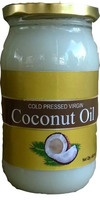 raw organic virgin coconut oil in 400 ml glass bottle