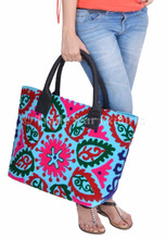 Embroidery Suzani Handbag Women Tote Shoulder Bag Indian Designer Boho Bag Beach Bag