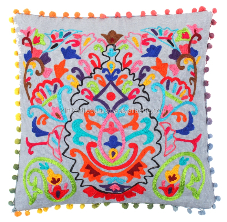 Indian Traditional Suzani Embroidery Pom Pom Style Attractive Looking Cotton Kantha Cushion Covers