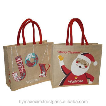 christmas jute promotional bags/ Stylish jute bags