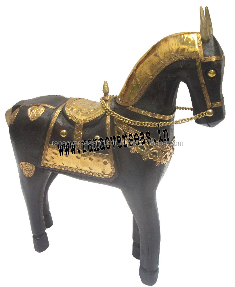 Wooden Decorative Horse, Table Top Decorative Wooden Art Figurines brass work