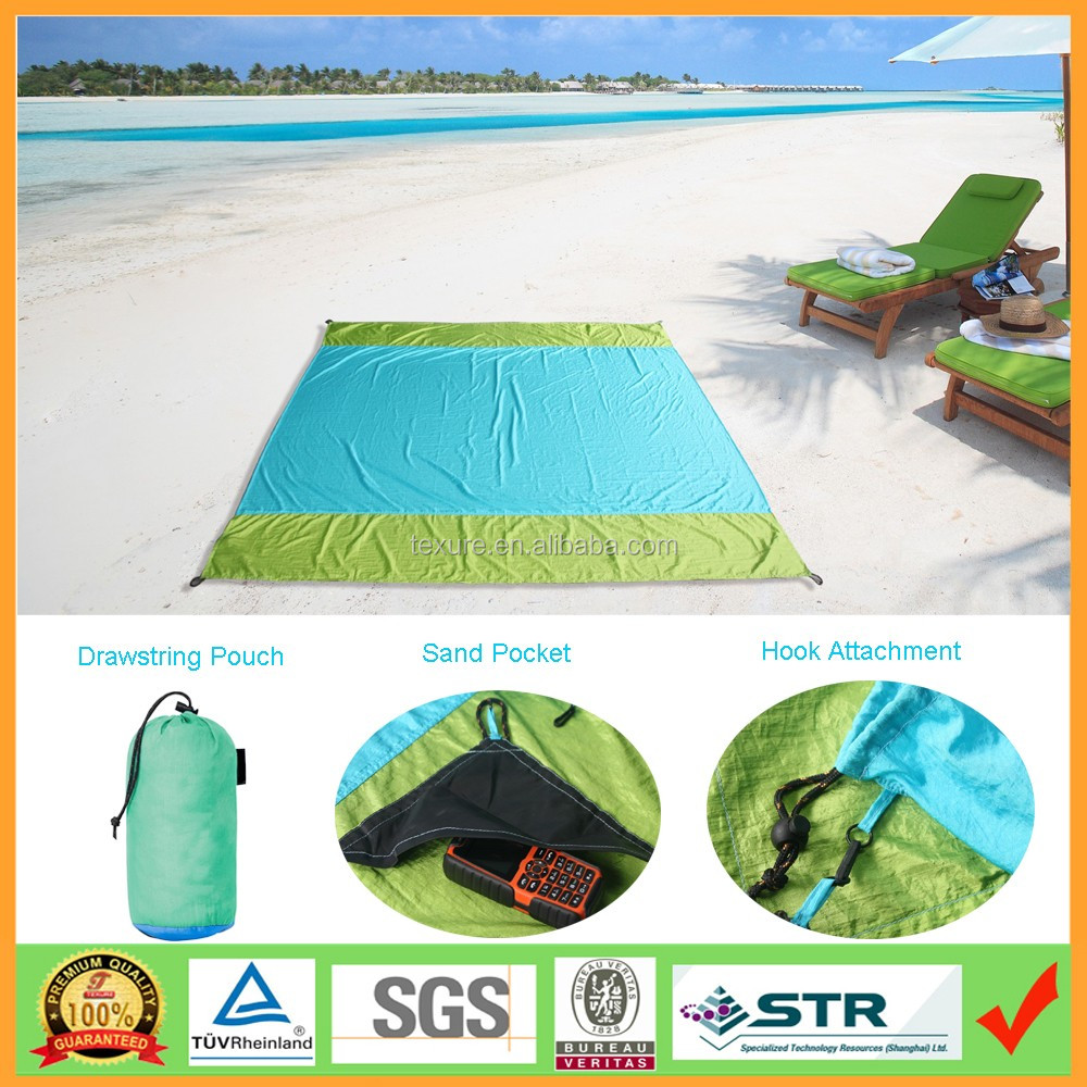 Lightweight Lager Size 7'x9' Campact Sand free Parachute Beach blanket with Zipper Pocket