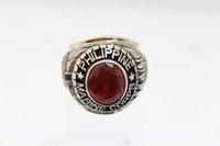 0065 Military Rings and red garnet stone