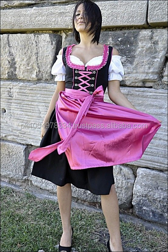 Pink and Black DIRNDL dress with WHTE blouse bavarian dirndl