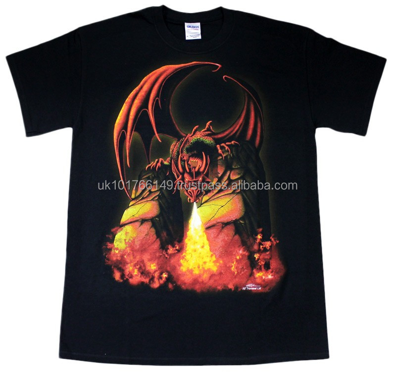 Fire Breathing Dragon Black Cotton T-Shirt Available In All Sizes