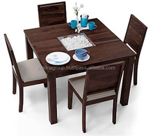 Mahogany color square four sitter wooden dining table set