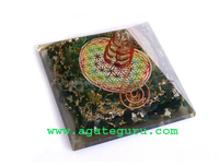 Quality Manufacturer Of Big Orgone Energy Green Jade Pyramid With Flower Of Life Symbol And Crystal Point Reiki Pyramid