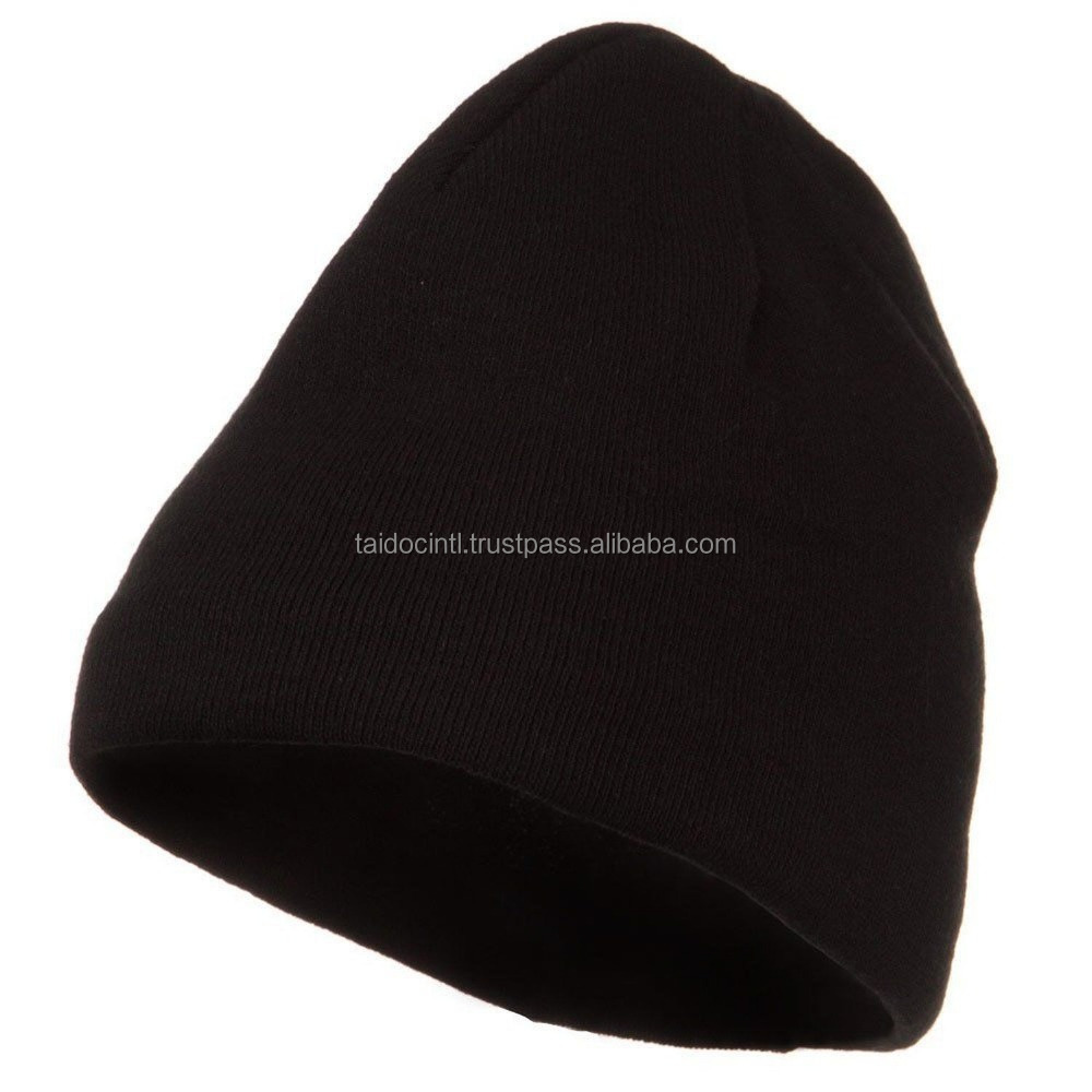 Black Solid Warm Winter Snowboard Ski Knit Skull Running Skully Beanie Cap Hat / Best quality by Taidoc international