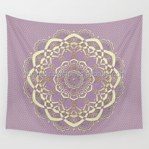 Wholesale round Mandala Tapestry Lavender Lilac Wall Tapestry bedsheets