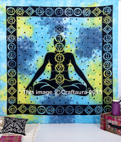 Indian Tapestries Wall Hanging Wholesale Hippie Buddha Meditation Wall Art Yoga Seven Chakra Bohemian Cotton Bedspread