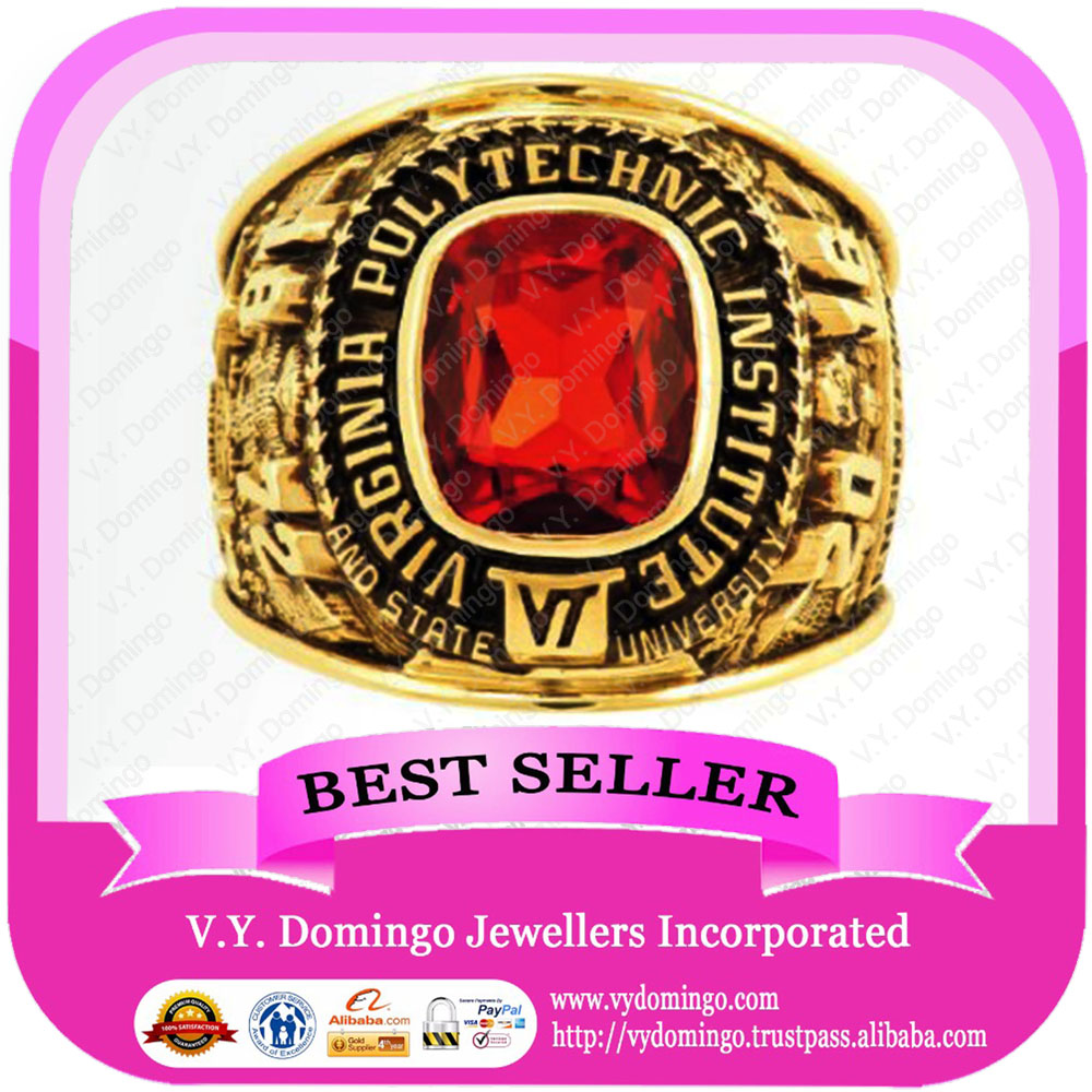University ceremony gift fire stone with gold plated school ring