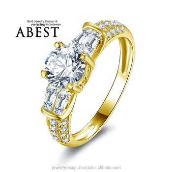 Special 1.0 Carat 10K Gold Yellow Classic Ring Hot Sale Round Sona Synthetic Simulated Diamond Engagement Wedding Ring Jewelry