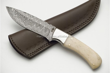 Pakistan Best Selling 58C Hardness Hand Made Camel Bone Handle Damascus Steel Knife Knive