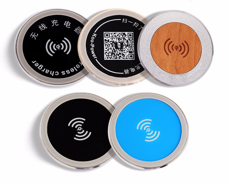 furniture embedded wood+aluminium alloy QI certified colorful wireless charging pad