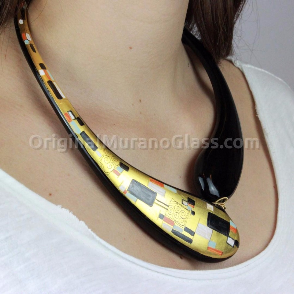 Murano Glass Klimt Necklace Painted in 24kt Gold