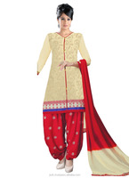 Magnificent Cream And Red Color Embroidery Work Cotton Patiala Salwar Suit