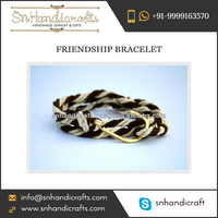 Brown and Cream Rope Knotted Friendship Bracelet with Hook for Making Good Impact