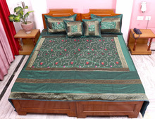 Home Furnishing King Fully Green Embroidered Jaipuri 5 Piece Traditional Silk Bed Cover Blanket Bedsheet