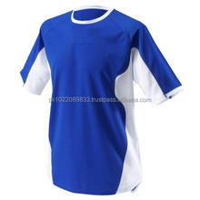 100% Polyester Men's Round Neck Half Sleeves T-Shirt Royal Blue with White side Panels