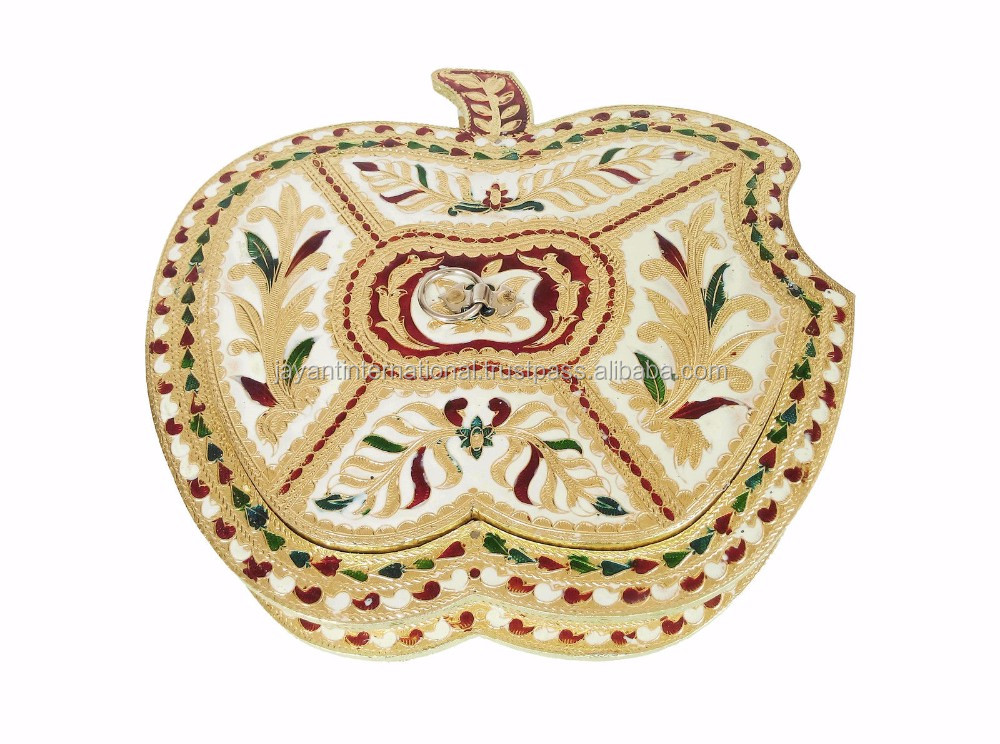 Apple shaped decorative handmade Meenakari Chocolate Box / Dry Fruit Box
