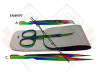 Mini Scissors & Straight with Curved Tip Eyelash Extension Tweezers - Multi Color / Rainbow Color