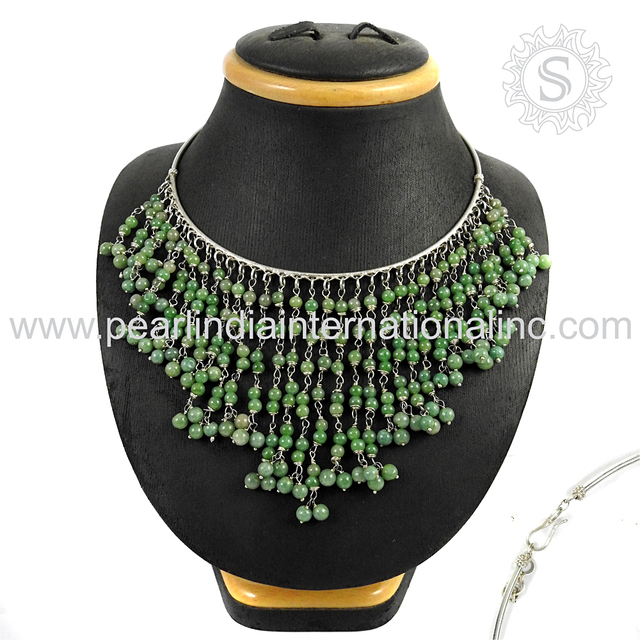 New Design Beads Jewelry Necklace 925 Sterling Silver Jewelry Gemstone Silver Jewelry