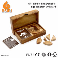 Wooden Toys Folding Doubble Egg Tangram Puzzles with Card