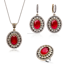 Ruby Set Oxidized 925 Sterling Silver Turkish Authentic Ruby Wholesale Set