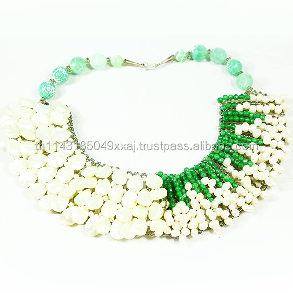 Mix n Match Green Aventurine White Pearl Necklace Glamorous Statement Jewelry