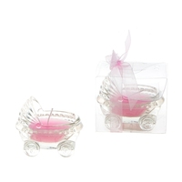 Glass Baby Stroller Scented Candle - Pink
