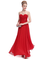Strapless Rhinestones Flower Ruched Bust Red Wedding Dress HE09940 Mix Wholesale