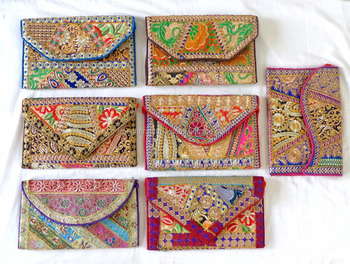 Wholesale Indian handmade Patchwork clutch purse-fancy clutch purse-Gujarati Embroidered Clutch Purse-Wedding clutch Purse