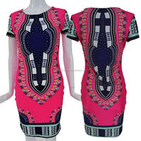 Vintage and famous party wear funtion ,occasion Women's Traditional African Print Dashiki Bodycon Sexy Short Sleeve Slim Dress