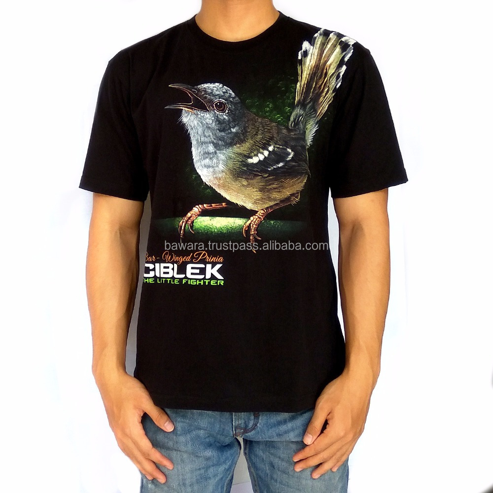 Bawara Premium T-Shirt 100% Soft Cotton | Bird Themes | Bar-Winged Prinia - Black