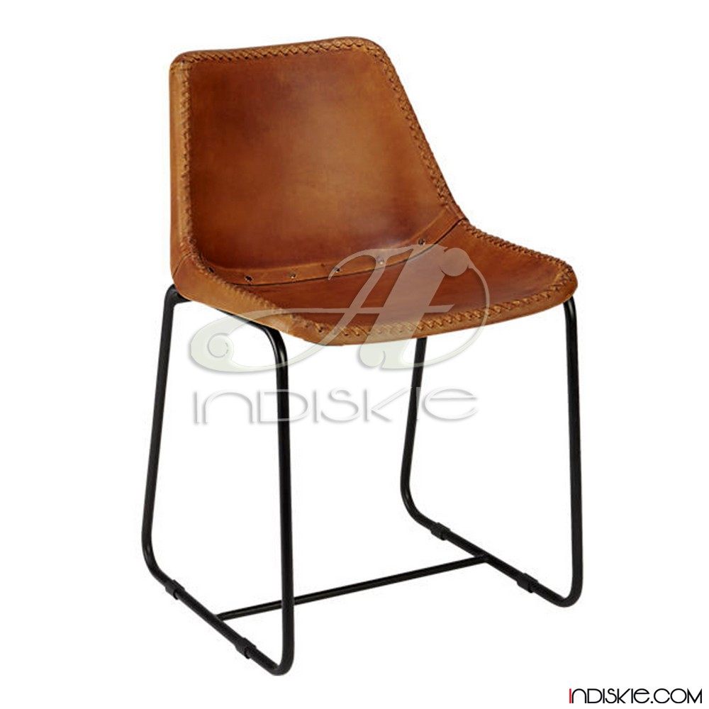 Vintage Look Stitched Leather Dining Chair Retro Style Leather