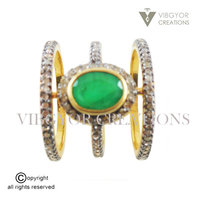 Pretty Looking New Design Latest Ring 92.5 Solid Sterling Silver Yellow Gold Emerald Silver Diamond Ring Natural Emerald Ring