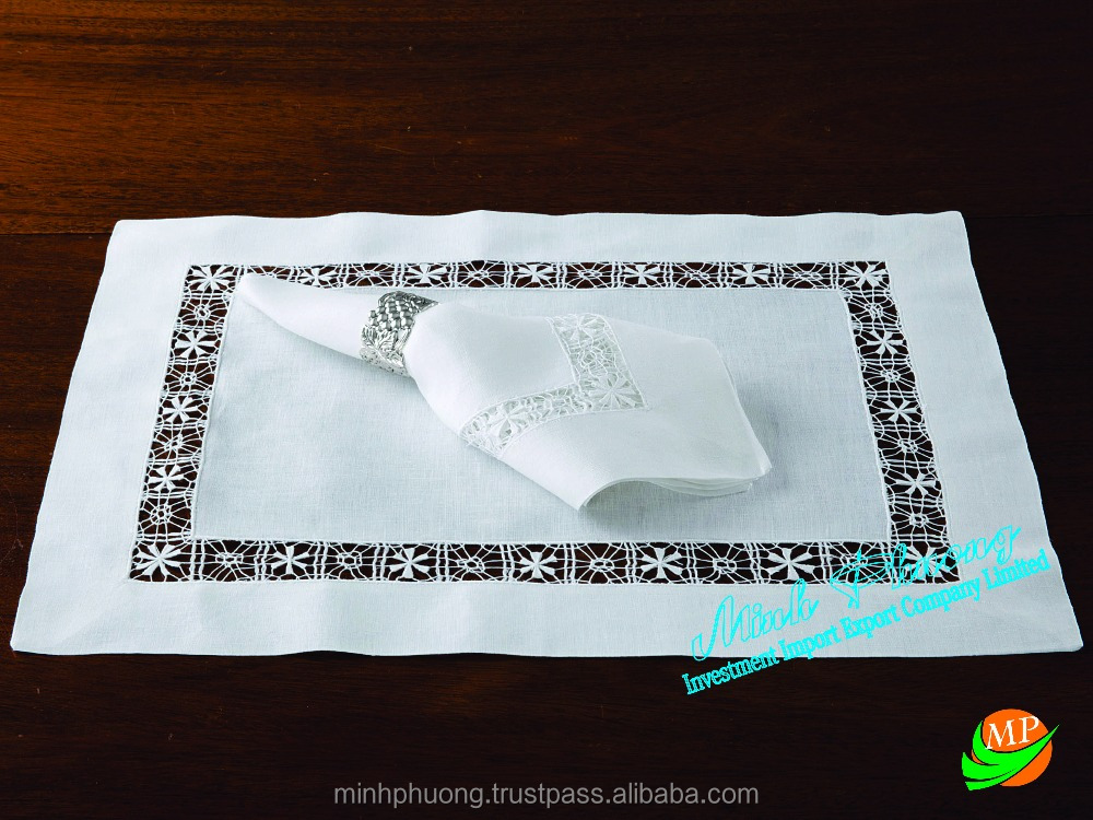 Table napkin 100% linen/cotton with embroidery