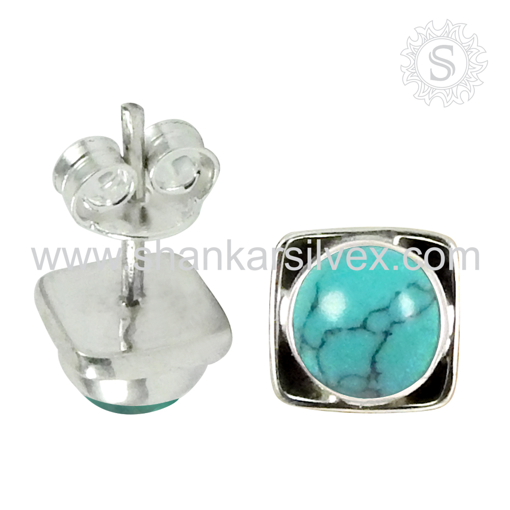Party Girls New Design Turquoise Earring Latest Handmade Silver Jewelry 925 Sterling Silver Supplier