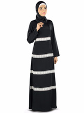 Abaya Front Open dubai popular women long dress muslim Lace jubah 2016 kaftan designs in pakistan