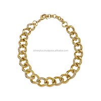 18k Yellow Gold Link Chain Diamond Necklace Jewelry