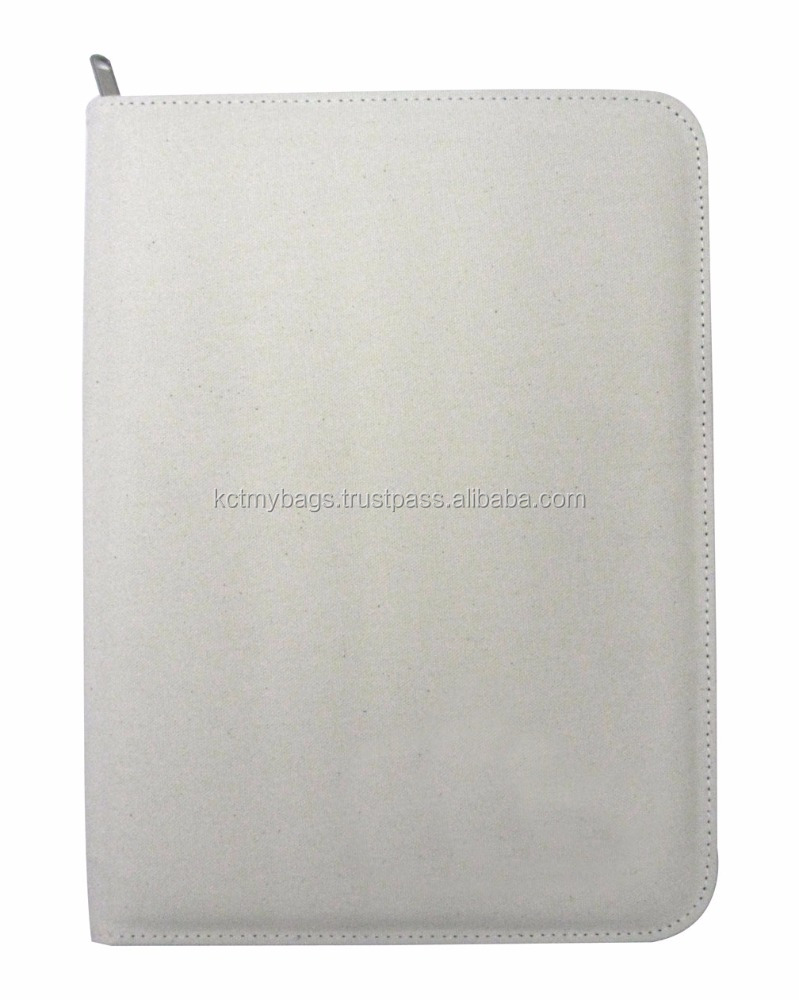 White Canvas + PU A4 Zipper folder