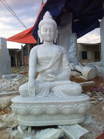 Shakyamuni Buddha Statues for Sale White Marble Stone Hand Carving Sculpture for Home Garden Pagoda Temple No 50