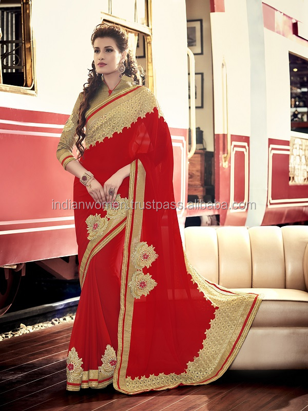 Ageless Designer Georgette Red Color Embroidered Work Synthetic Saree
