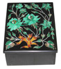 "4""x3""x2"" Belgium Black Marble Jewelry Box Malachite Inlay Marquetry Gifts H2372"