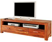 New Natural Finish 3 Drawer Wooden TV Table