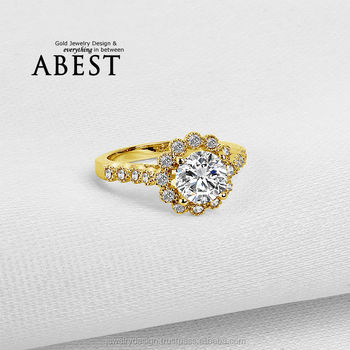 1.25 Carat Round Main Stone 10K Gold Yellow Ring Sona Simulated Diamond Jewelry Ring New Wedding Engagement Ring